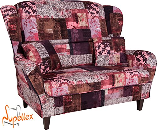 supellex sofa ohrensessel sofia f r zwei personen dessin patchwork floral rot. Black Bedroom Furniture Sets. Home Design Ideas