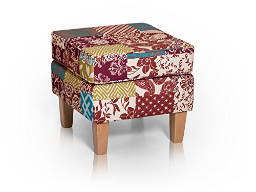 moebel-eins WILLY Hocker Sitzhocker Polsterhocker Fußhocker Fußablage Patchwork Bunt