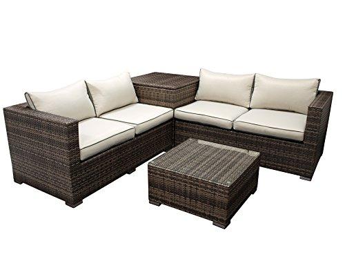 degamo lounge set cavoli eckgruppe mit integrierter kissenbox aluminium geflecht grau braun. Black Bedroom Furniture Sets. Home Design Ideas