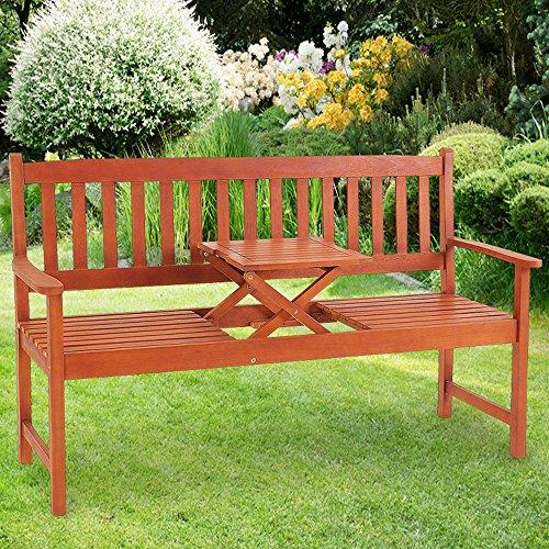 Deuba Gartenbank Picknick Tisch | FSC®-zertifiziertes Eukalyptusholz | inkl. hochklappbarem Tisch | In- +Outdoor | Robust - Holzbank Gartenmöbel Sitzbank Garten Bank