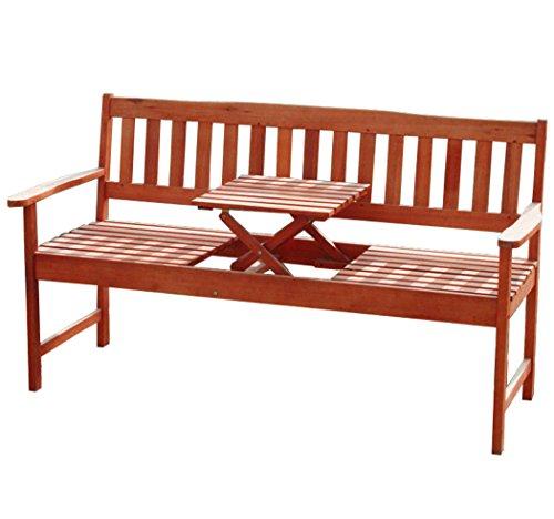 KMH 3-sitzer Gartenbank (160 cm) aus Eukalyptusholz mit integriertem, einklappbarem Tisch (#101909)