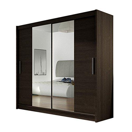 Kleiderschrank London II mit Spiegel, Schiebetürenschrank, Schwebetürenschrank, Modernes Schlafzimmerschrank 180x215x57cm, Garderobe, Schlafzimmer