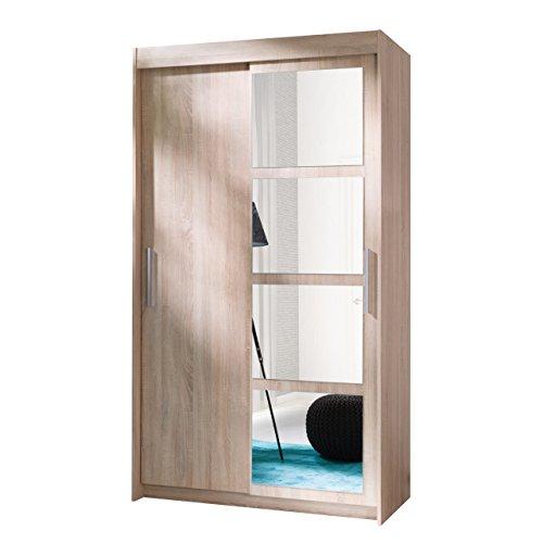 kleiderschrank nero 120 elegantes schlafzimmerschrank mit spiegel 120 x 216 x 60 cm modernes. Black Bedroom Furniture Sets. Home Design Ideas