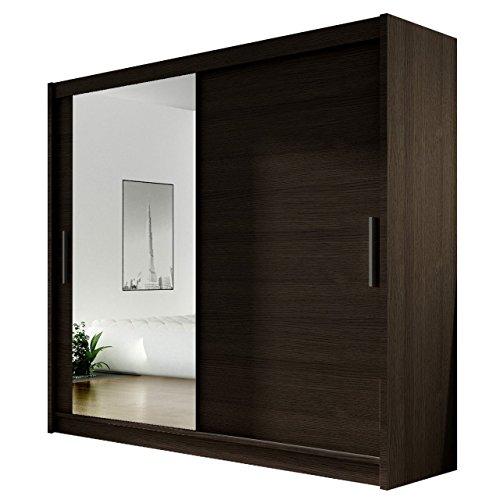 Kleiderschrank mit Spiegel Bega VI, Schwebetürenschrank, Schiebetürenschrank, Modernes Schlafzimmerschrank 180x215x57cm, Garderobe, Schlafzimmer