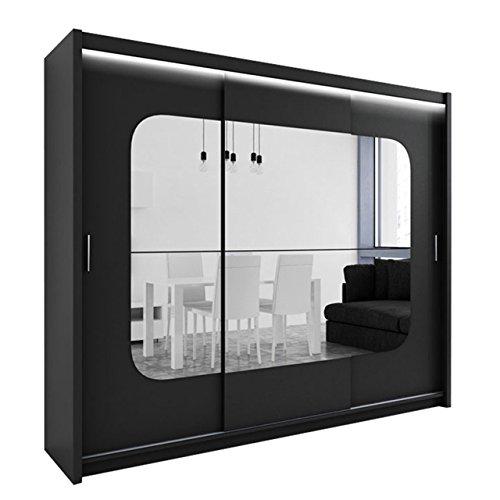 Kleiderschrank mit Spiegel und LED-Beleuchtung Barcelona, Modernes Schwebetürenschrank, 250 x 215 x 61 cm, Schiebetür, Schlafzimmerschrank, Schlafzimmer