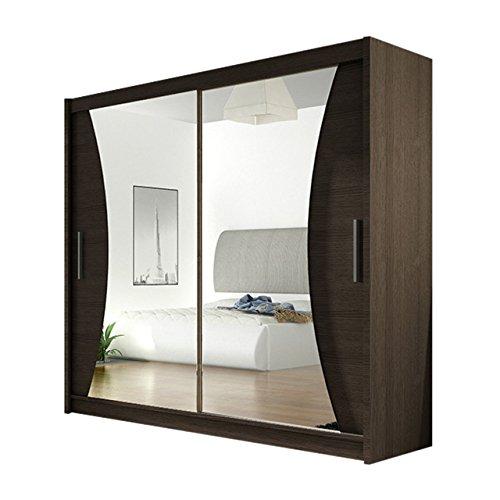 Schiebetürenschrank London V mit Spiegel, Kleiderschrank, Schwebetürenschrank, Modernes Schlafzimmerschrank 180x215x57cm, Garderobe, Schlafzimmer
