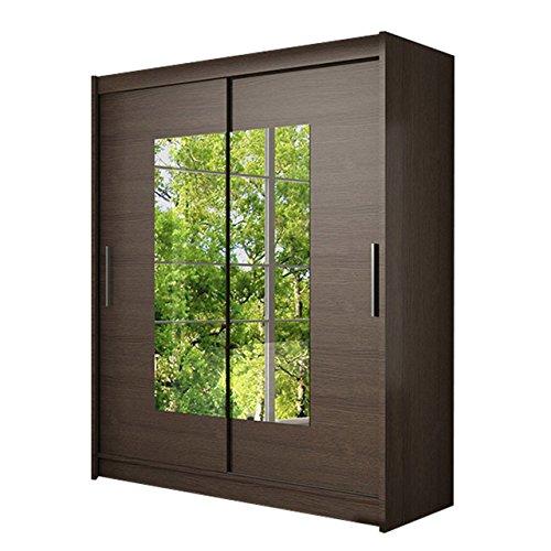 Schwebetürenschrank Westa III Kleiderschrank mit Spiegel, Modernes Schlafzimmerschrank, Schiebetürenschrank, Garderobe, Schlafzimmer