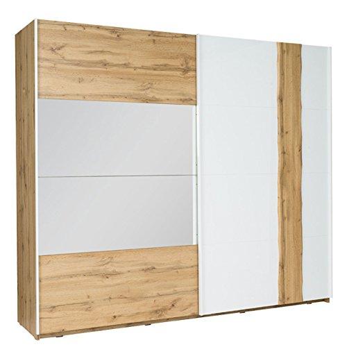 Schwebetürenschrank Wood 11/12, Modernes Kleiderschrank mit Spiegel, Garderobe, Schlafzimmerschrank, Schiebetür Schrank, Schlafzimmer-Set