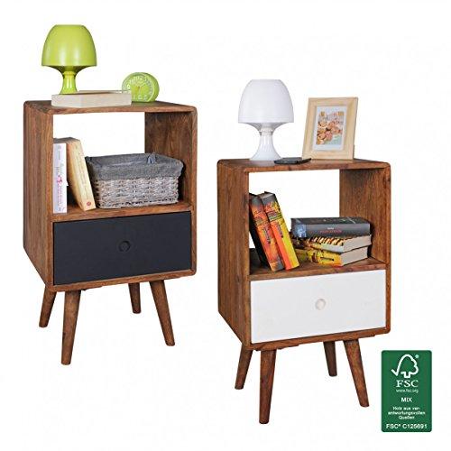FineBuy Retro Nachtkonsole Sheesham-Holz Nachttisch mit Schublade dunkelbraun / weiß | Design Nachtkästchen 40 x 35 x 70 cm | Großes Nachtschränkchen