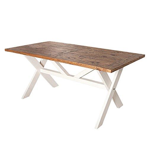 Hochwertiger Esstisch BYRON 180cm recyceltes Kiefernholz weiss vintage braun Tisch Holztisch