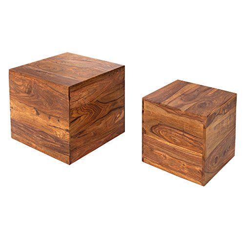 Invicta Interior 2er Set Beistelltische Würfel MAKASSAR Sheesham Stone Finish Couchtische Satztische Würfeltische Tischwürfel Holztische Tischset