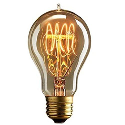 Kingso Vintage Edison E27Glühlampe, 60W, dimmbar, A19,Antik-Wolframspirale, Stil 23,verankerte Glühbirne, 220V