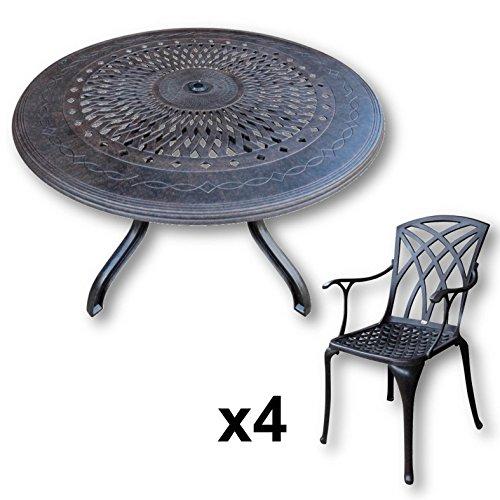 Lazy Susan – AMY 120 Cm Runder Gartentisch Mit 4 Stühlen
