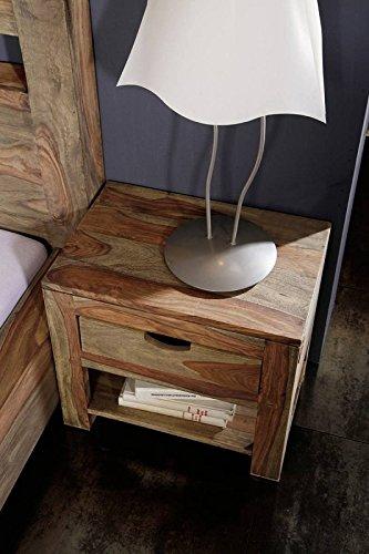 MASSIVMOEBEL24.DE Palisander Massivholz Nachttisch Sheesham Holz Möbel Nature Grey #91