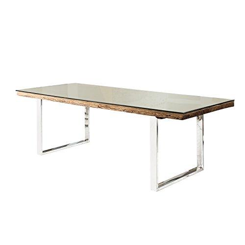 Massiver Esstisch BARRACUDA antik Teak Holz mit Stahl Kufenfüßen 200cm inkl. Glasplatte Holztisch Küchentisch