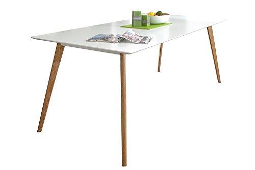 Riess Ambiente Design Retro Esstisch Scandinavia Verschiedene Größen Weiß Echt Eiche Eichenholz Massivholz Küchentisch Holztisch