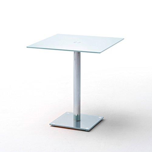 Riess Ambiente Exklusiver Esstisch Bistrotisch Fluid Eckig 80 x 80cm Opalglas Weiß Chrom Säulentisch
