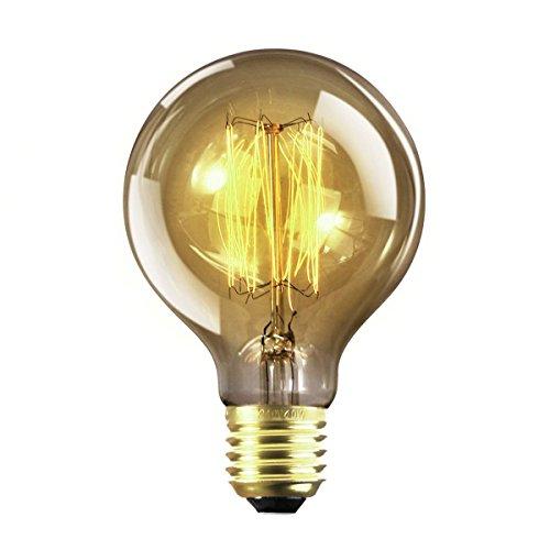Vintage Edison Glühbirne, NUODIFAN E27 40W Retro Birne Squirrel Cage Stil Filament Lampe Amber Glas Dimmbar (180 Lumens, 2200K) Ideal für Antike Nostalgie und Dekorative Beleuchtung Modell G80 φ80mm