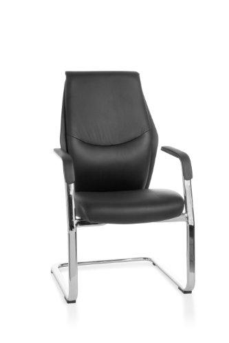 AMSTYLE, Freischwinger, Oxford, Besucherstuhl Bezug Echt-Leder Schwarz Schwingstuhl Visitor X-XL Chrom 120 kg