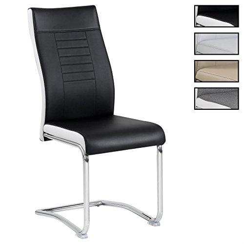 CARO-Möbel 4er Set Esszimmerstuhl Küchenstuhl Schwingstuhl Loano, in 3, Gestell in Chrom