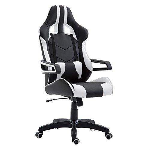 CARO-Möbel Gaming Drehstuhl Play Lederimitat in Schwarz/Weiß Bürostuh Schreibtischstuhl Chefsessel Racer, Höhenverstellbar Wippmechanik