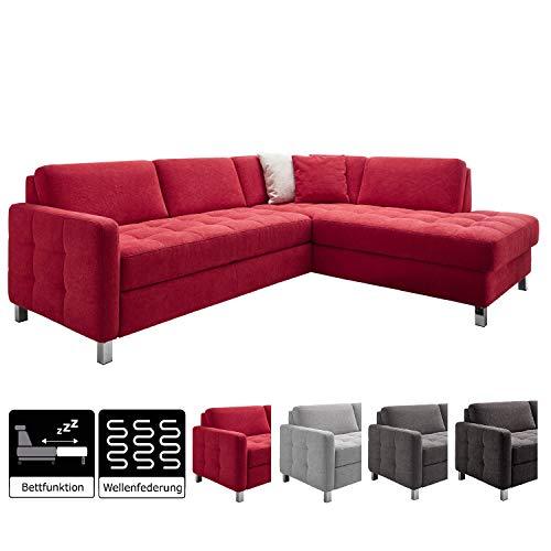 Cavadore Schlafsofa Paolo mit Bettfunktion / Große Sofaecke mit gesteppter Sitzfläche und Bett zum Ausklappen / Modernes Design / 233 x 80 x 196  /  Rot