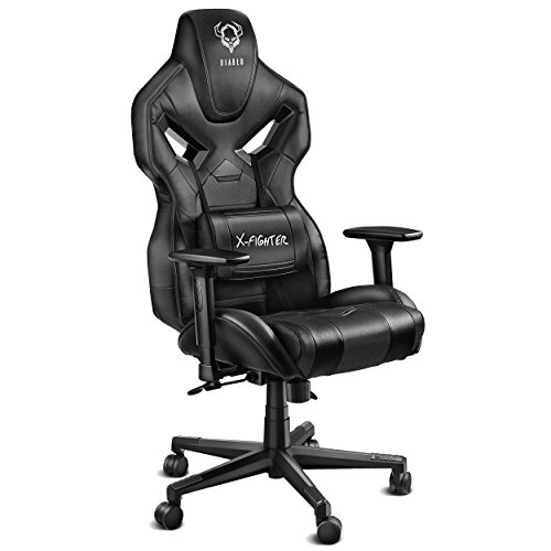 Diablo X-Fighter Gaming Stuhl Bürostuhl Verstellbare Armlehnen 3D Lendenkissen Wippfunktion Kunstlederbezug Perforiert Farbwahl (Schwarz-Schwarz)