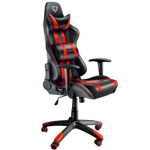 Diablo X-One Bürostuhl Gaming Stuhl mit Armlehnen Wippfunktion Kunstlederbezug belastbar bis 150 kg (Rot/Schwarz)
