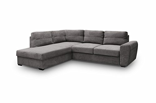 Ecksofa Sofa Eckcouch Couch mit Schlaffunktion und Bettkasten Ottomane L-Form Schlafsofa Bettsofa Polstergarnitur Wohnlandschaft - PRESTO (Ecksofa Links, Grau)