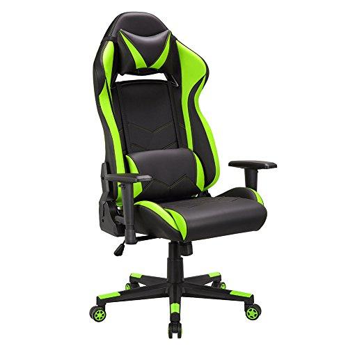 Gaming Stuhl, Ergonomischer Gamer Bürostuhl, PU Leder Schreibtischstuhl, Kunstleder Computer Racing Stuhl mit verstellbarer Sitzhöhe, Gaming Sessel mit 90-135° kippbarer Rückenlehne, PC Gamer Stuhl, Belastbarkeit bis 120kg, Grün