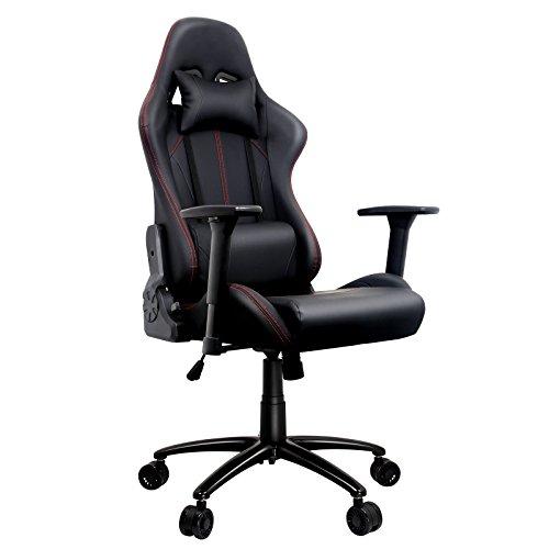 Gaming Stuhl, Racing Gamer Stuhl, Sportsitz Schreibtischstuhl, Ergonomischer Bürostuhl mit 3D verstellbaren Armlehnen, Hohe Rückenlehne Chefsessel,Höheverstellbar PU Drehstuhl mit Kopfkissen und Taillenstütze, bis 135° nach Hinten verstellbar (Schwarz 1)