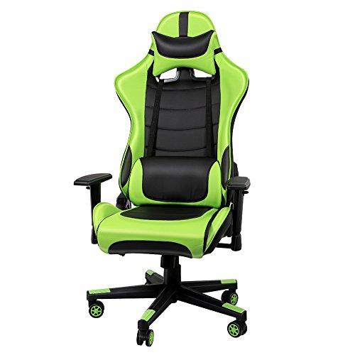 Gaming Stuhl, Racing Stuhl Sportsitz Gamer Stuhl, Kunstleder Schreibtischstuhl, PU Bürostuhl Höheverstellbar Chefsessel, Drehstuhl mit Kopfkissen und Taillenstütze, Rückenlehne verstellbar bis 135° (Grün)