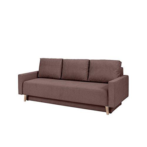 Home Direct Sofa Oskar, Couch mit Bettkasten und Schlaffunktion, Farbauswahl, Polstersofa, Bettsofa im skandinavischen Stil (Moric 03, Füße: San Remo Eiche Hell)