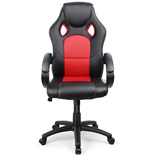 INTEY Gaming Stuhl, ergonomischer Bürostuhl, Computer Stuhl, Bequemer Leder, Fester Schwamm, Verstellbare Stuhlhöhe, Wippfunktion