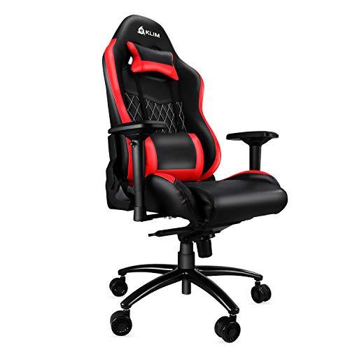 KLIM Esports Gaming Stuhl - Qualitativ Hochwertiger - Ergonomisch Sessel - Neu - Racer Gamer PC Office Chair - Genaue Verarbeitung - Einstellbar - Rote Polsterung [ Neue 2018 Version ]