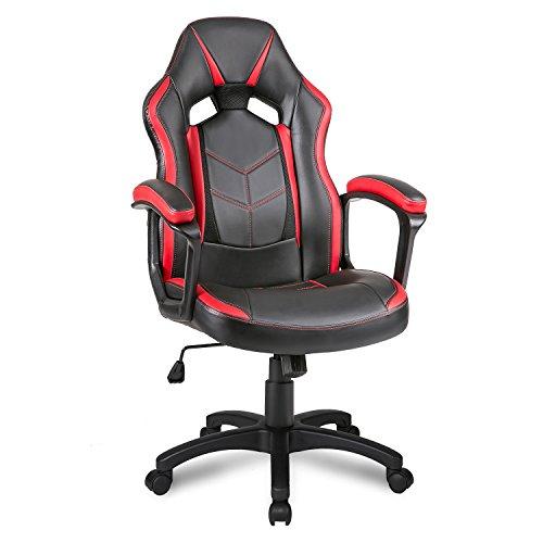 Merax® Gaming Stuhl Schreibtischstuhl Racing Stuhl Bürostuhl Sportsitz Drehstuhl PU Kunstleder, Belastbarkeit bis 100 kg, Schwarz+Rot/Blau (Rot)