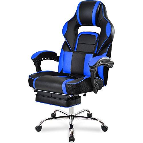 Merax® Schreibtischstuhl Ergonomische Liege Design Bürostuhl Gaming Stuhl Computerspiel Stuhl Kunstleder Chefsessel mit guten gepolsterten Fußstütze und Lendenkissen, Wippkunktion, Höhenverstellbar (Blau)