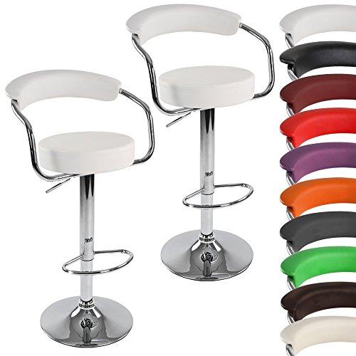 Miadomodo Barhocker 2er Set | in Weiß | Retrolook | Barstuhl | Drehhocker | Lounge | Barsessel mit Fußablage, Armlehnen und Rückenlehne | drehbar und höhenverstellbar |