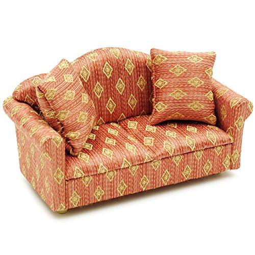Miniatur Sofa / Couch mit 2 Kissen - für Puppenstube Maßstab 1:12 - rot weiß golden - gestreift - Puppenhaus / Puppenhausmöbel Sessel Wohnzimmer Klein - für Wohnzimmerlandschaft - Puppensofa - Möbel - Wohnlandschaft - Miniatur Diorama