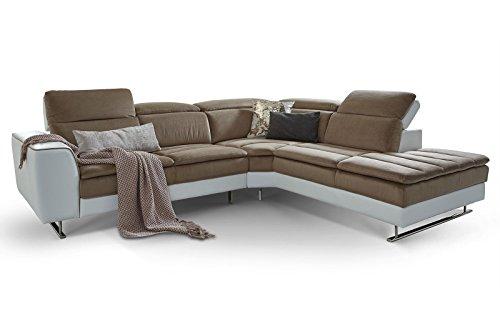 Moebella Designer Ecksofa Prato Weiß Taupe Wohnlandschaft XXL Couch Sofa Kopfstützen verstellbar Steppungen (Standard)