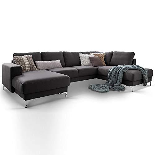Moebella Designer Wohnlandschaft Baltimore XXL U-Form Ecksofa Stoff grau anthrazit Sofa Couch mit Ottomane (Anthrazit, Standard)
