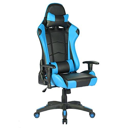 Racing Hochwertiger Bürostuhl Gaming Stuhl,Ergonomischer höhenverstellbar Schreibtischstuhl Chefsessel Computerstuhl Drehstuhl mit einstellbaren Armlehnen, Kunstleder PU Sportsitz Racing Game Chair(blau)