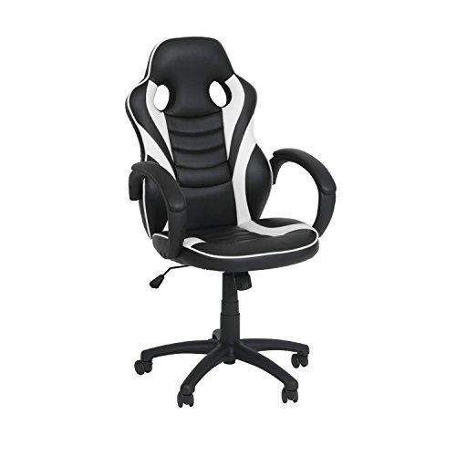 Ribelli Bürostuhl im Racing Style - Gaming-Stuhl stufenlos Höhenverstellbar ca. 60,5 x 107-117 x 56 cm in Lederoptik-mit Rollen - Farbe: Schwarz/Weiß
