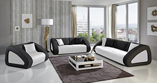 SAM Sofa Garnitur Ciao Combi 3-2 - 1 Weiß/Schwarz/Schwarz Designed by Ricardo Paolo Wohnlandschaft mit Dreisitzer, Zweisitzer und Sessel