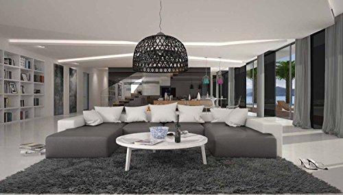 SalesFever Wohn-Landschaft XXL mit Kunstleder Bezug 405x255 cm U-Form grau/weiß | Leesha | Moderne Sofa-Garnitur mit 2 Recamieren | XXL-Couch für Wohnzimmer grau/Weiss 405cm x 255cm