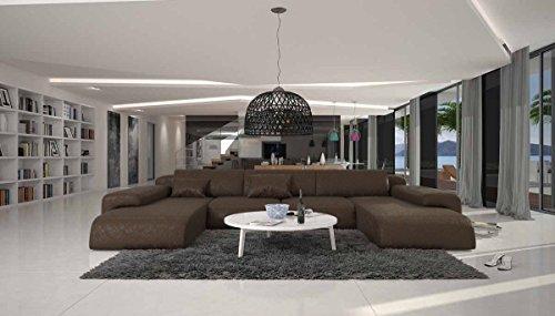 SalesFever Wohn-Landschaft XXL mit dunkelbraunem Microfaser 400x250 cm U-Form   Relas-U   Design Sofa-Garnitur aus hochwertigem Polyester   Polster-Ecke XXL für Wohnzimmer Dunkelbraun 400cm x 250cm