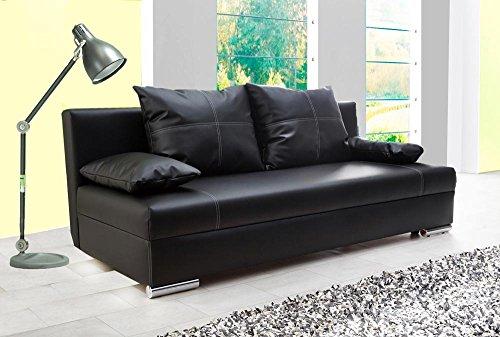 Schlafsofa in schwarzem Kunstleder, Sofa mit Schlaffunktion und Bettkasten, pflegeleichte Schlafcouch inkl. Rücken- und Armlehnkissen