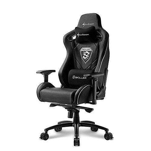 Sharkoon Skiller SGS4 Komfortabler Gaming Seat mit extragroßer Sitzfläche, 150 kg belastbar, Kunstleder, Aluminiumfußkreuz, 75 mm Rollen mit Bremsfunktion, 4-Wege-Armlehnen, Stahlrahmen, schwarz