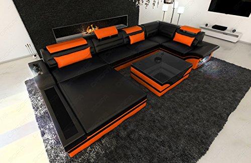 Sofa Dreams Leder Wohnlandschaft Mezzo als U Form mit LED Beleuchtung