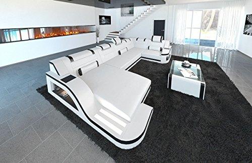 Sofa Dreams Leder Wohnlandschaft Palermo U Form Weiss-Schwarz
